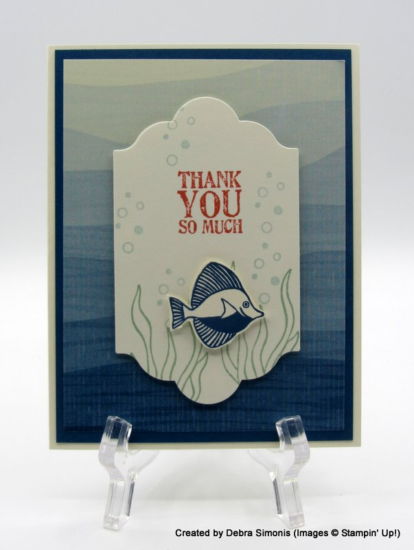 Stampin Up Seaside Shore masculine thank you card - Debra Simonis Stampinup