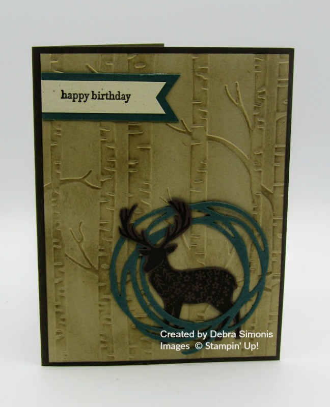 Stampin Up Merry Patterns Woodland Embossing Folder masculine birthday card - Debra Simonis Stampinup
