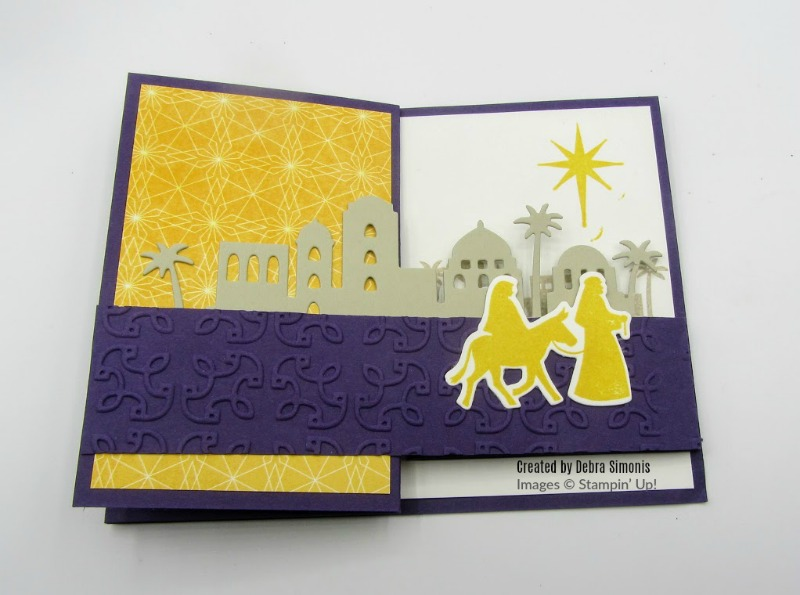 Stampin Up Night in Bethlehem Double Z fold card  Christmas - Debra Simonis Stampinup