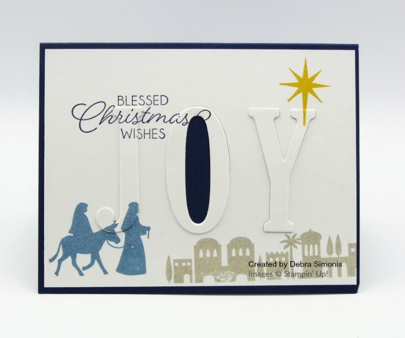 Stampin Up Night in Bethlehem Large Letters Framielits Floating Letters card idea - Debra Simonis Stampinup