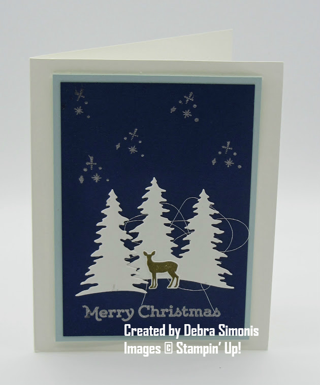 Stampin Up Carols of Christmas Card Front Builder Thinlits Christmas Card with Heat Embossing - Debra Simonis Stampinup