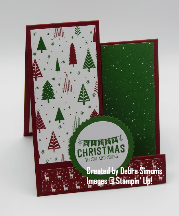 Stampin Up Labels to Love Starburst Punch Stair Step Christmas Card - Debra Simonis Stampinup