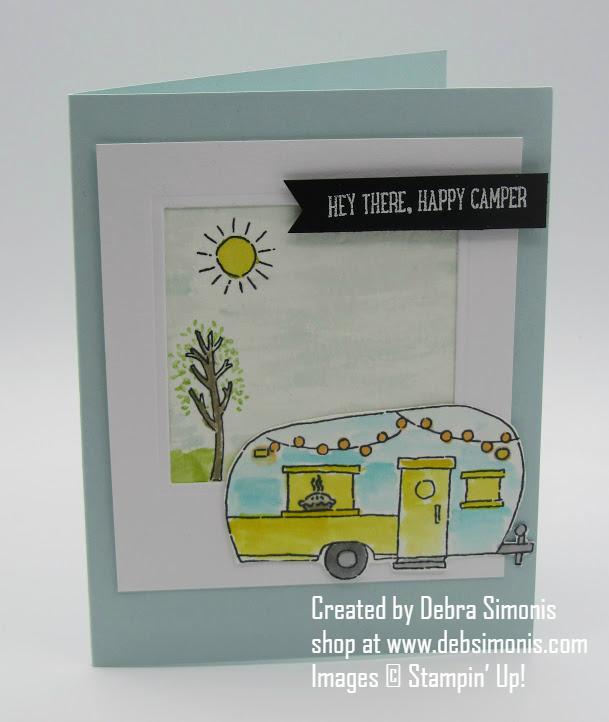 Stampin Up Glamper Greetings Happy Camper card - Debra Simonis Stampinup