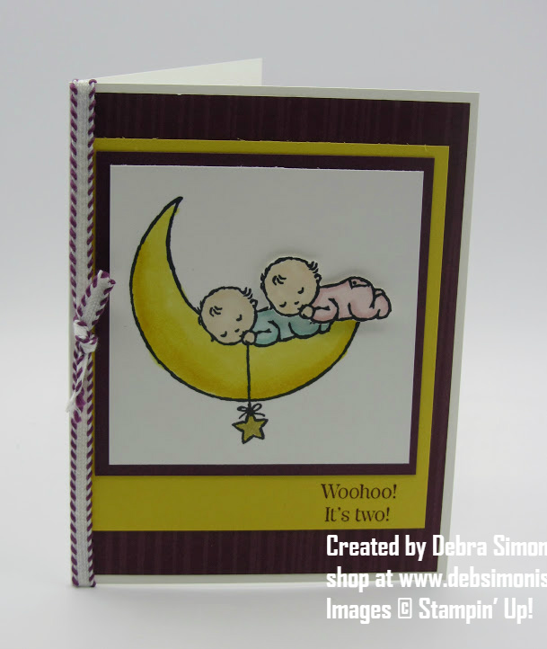Stampin Up Moon Babies Stampin Blends card for twin babies - Debra Simonis Stampinup