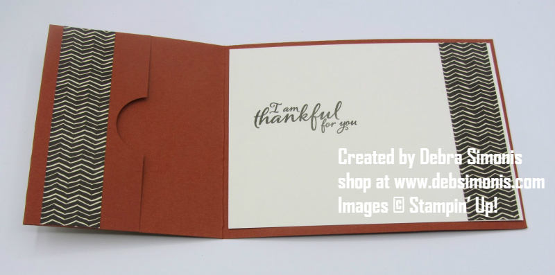 Stampin Up Painted Harvest thanksgiving gift card holder inside view - Debra Simonis Stampinup