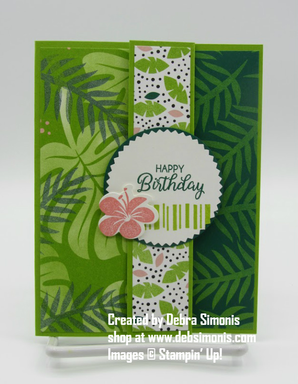 Stampin-Up-Beautiful-Bouquet-Tropical-Chic-Topical-Thinlits-Dies-fancy-fold-birthday-card-Debra-Simonis-Stampinup