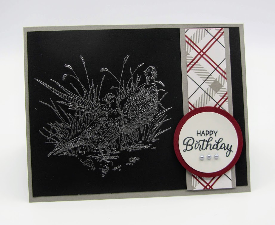 Stampin-Up-Pleasant-Pheasants-Beautiful-Bouquet-heat-embossed-masuline-card-Debra-Simonis-Stampinup