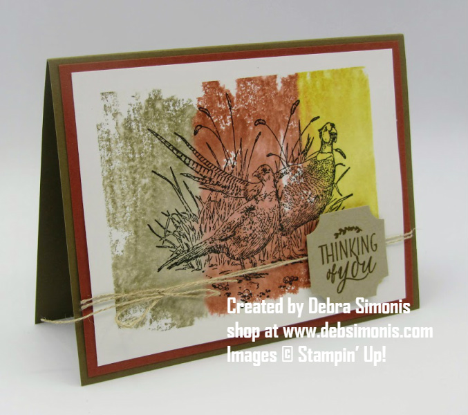 Stampin-Up-Pleasant-Pheasants-Darling-Label-Thinking-of-you-card-Debra-Simonis-Stampinup