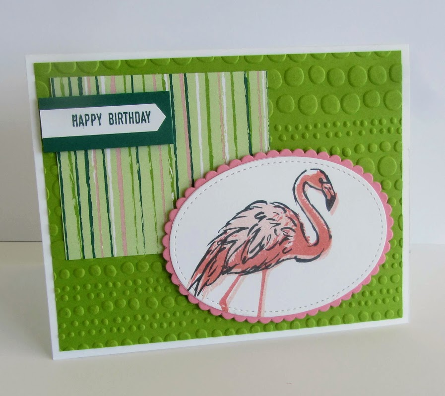 Stampin Up Fabulous Flamingo, Itty Bitty Greetings stamp sets Layering Ovals Framelits, Classic Label Punch, Dot to Dot Embossing Folder - Deb Simonis Stampinup