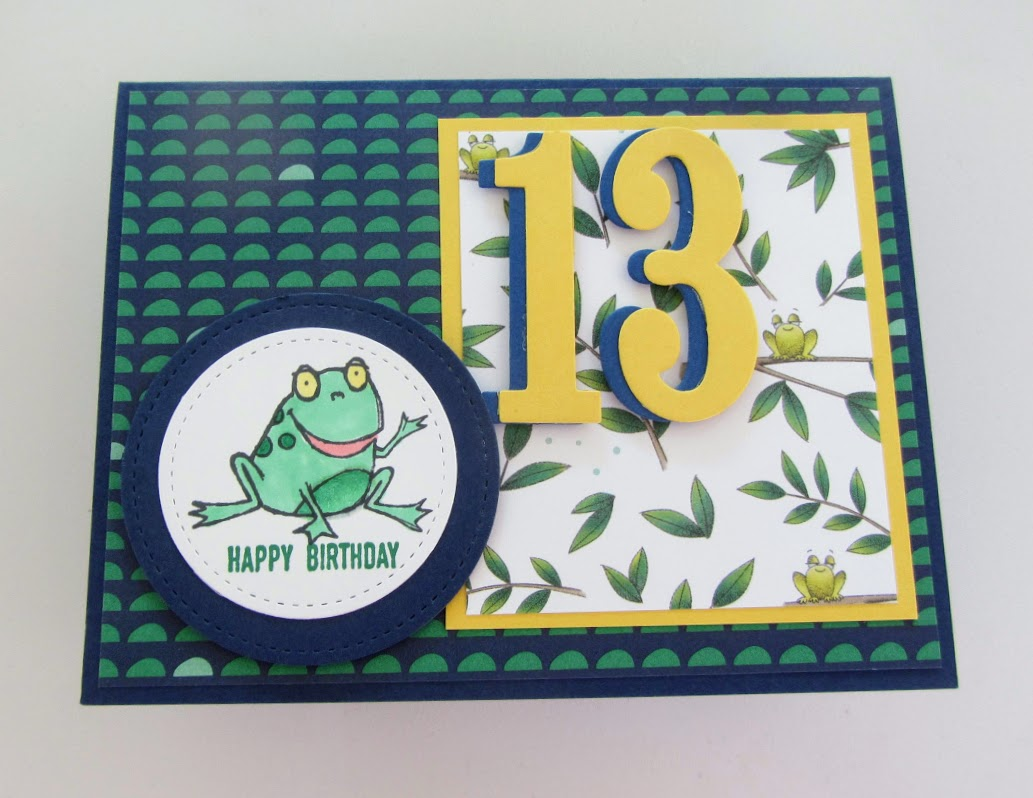 Stampin-Up-So-Hoppy-Together-stamp-set-Itty-Bitty-Greetings-Large-Number-Framelits-Stitched-Shape-Framelits-teen-birthday-card-Debra-Simonis-Stampinup