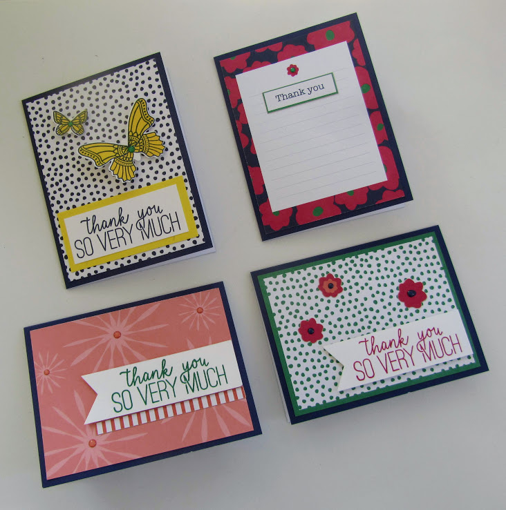 Stampin Up Happiness Blooms Memories & More thank you cards - Debra Simonis Stampinup
