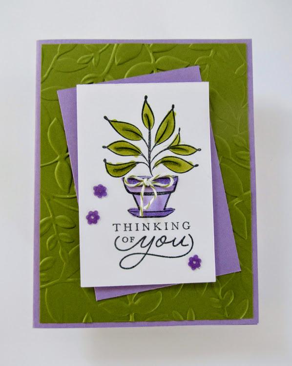 Stampin-Up-Just-Because-stamp-set-Layered-Leaves-Embossing-Folder-thinking-of-you-card-Debra-Simonis-Stampinup