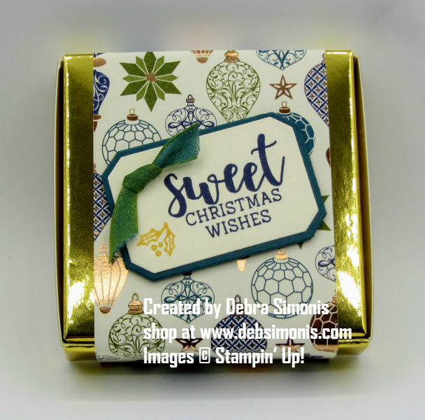 Stampin-Up-Cup-of-Christmas-stamp-set-Gold-Mini-Pizza-Box-Frosted-Bouquet-Dies-treat-container-3D-item-Debra-Simonis-Stampinup