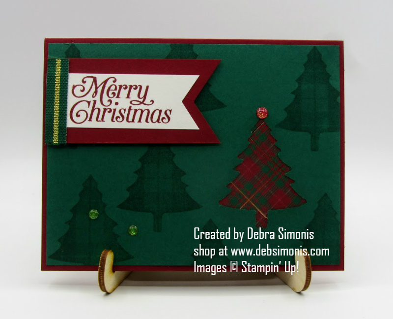Stampin-Up-Perfectly-Plaid-stamp-set-Pine-Tree-Punch-Banner-Triple-Punch-Christmas-card-Debra-Simonis-Stampinup