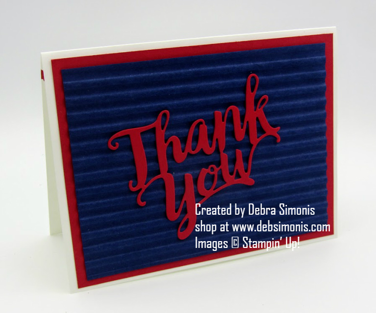 Stampin Up Corrugated Embossing Folder Thank You Die thank you card - Debra Simonis Stampinup