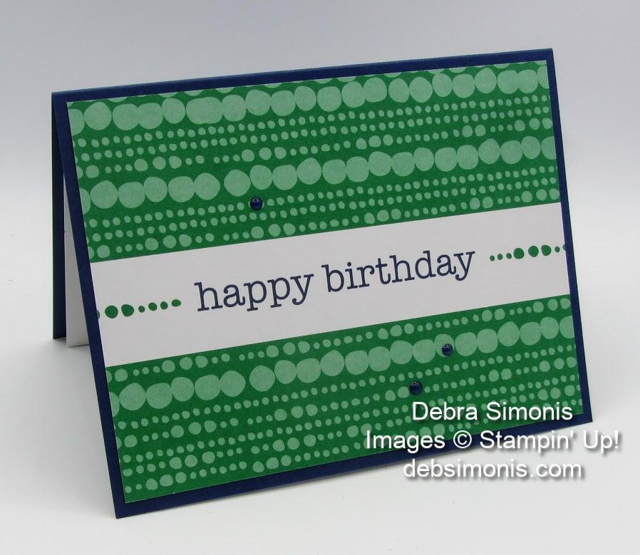 Stampin Up Happiness Blooms Memories & More Cards masculine birthday card - Debra Simonis Stampinup