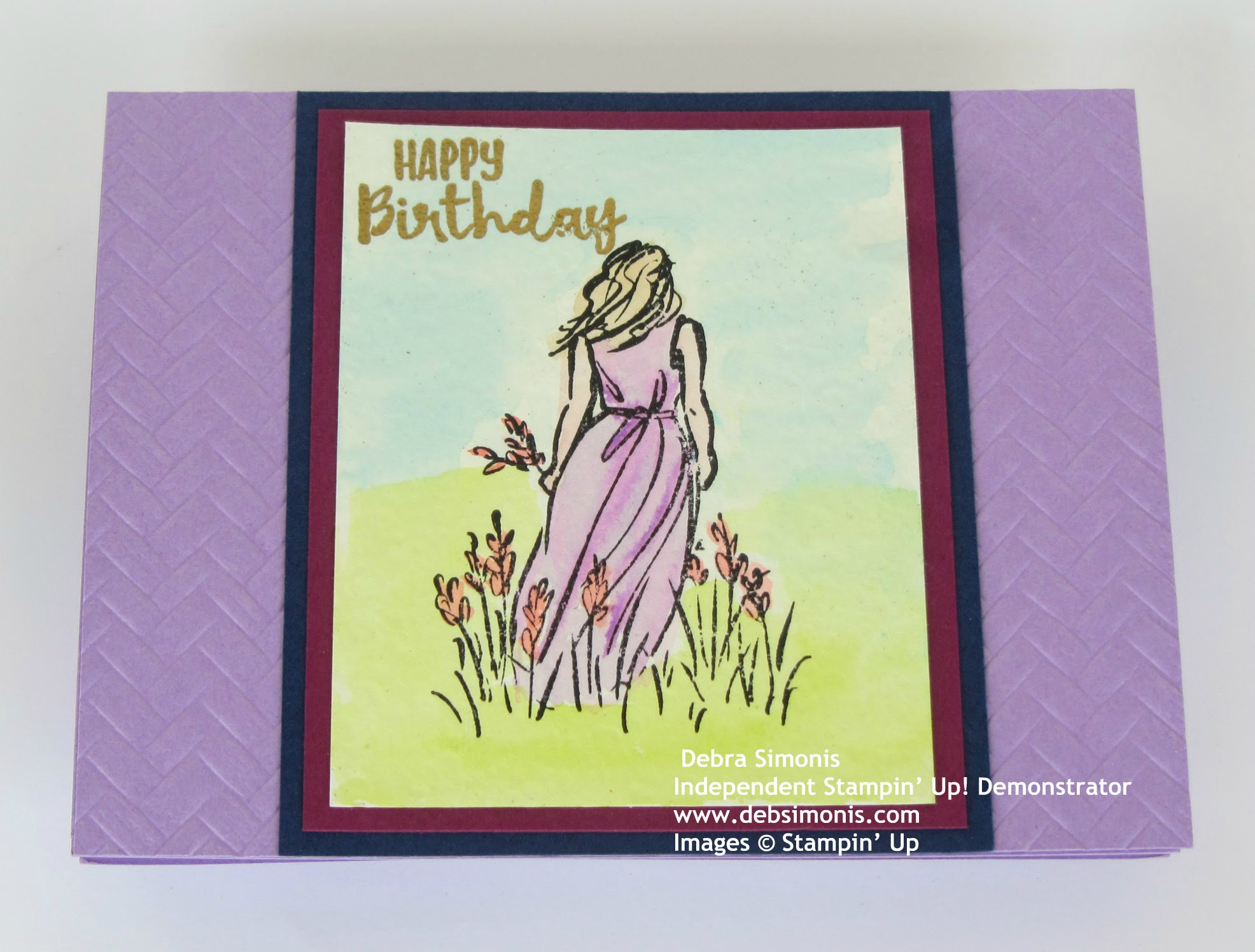 Stampin-Up-Beautiful-Moments-stamp-set-Sending-You-Thoughts-Coastal-Weave-Embossing-Folder-Watercolor-technique-Heat-Embossing-birthday-card-Debra-Simonis-Stampinup