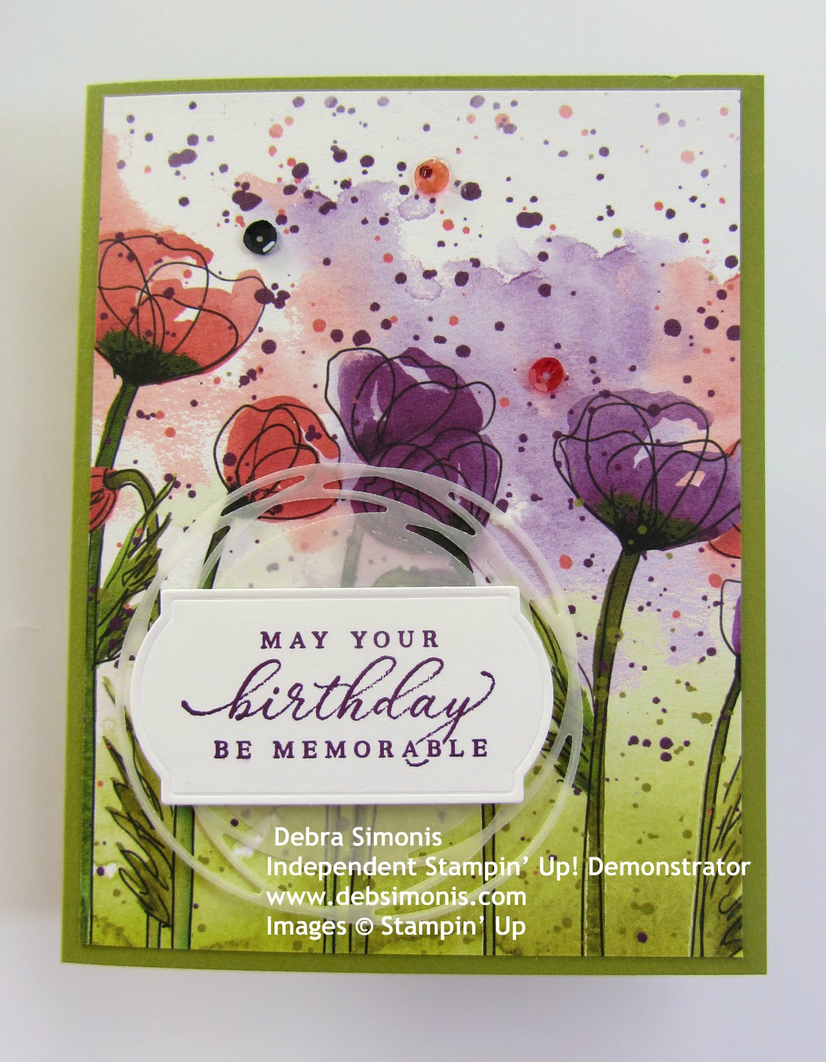 Stampin-Up-Peaceful-Poppies-DSP-Timeless-Tropical-stamp-set-Painted-Labels-Dies-birthday-card-Debra-Simonis-Stampinup