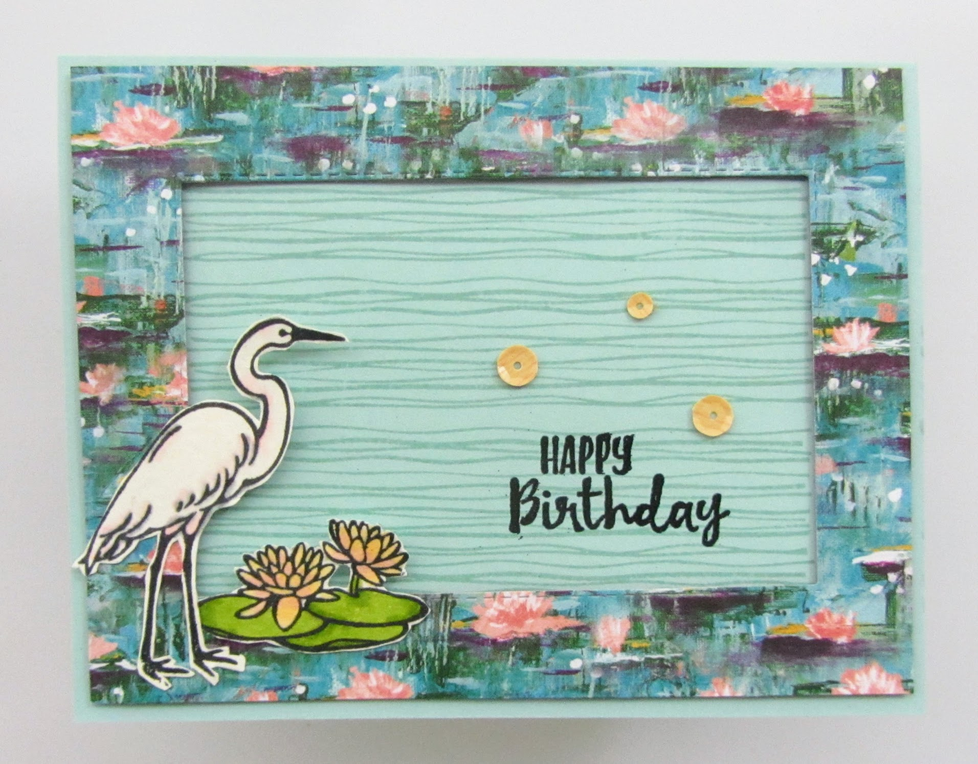 Stampin-Up-Lily-Pad-Lake-Sending-You-Thoughts-Stitched-Rectangle-Dies-heat-embossing-Stampin-Blends-birthday-card-inside-view-Debra-Simonis-Stampinup