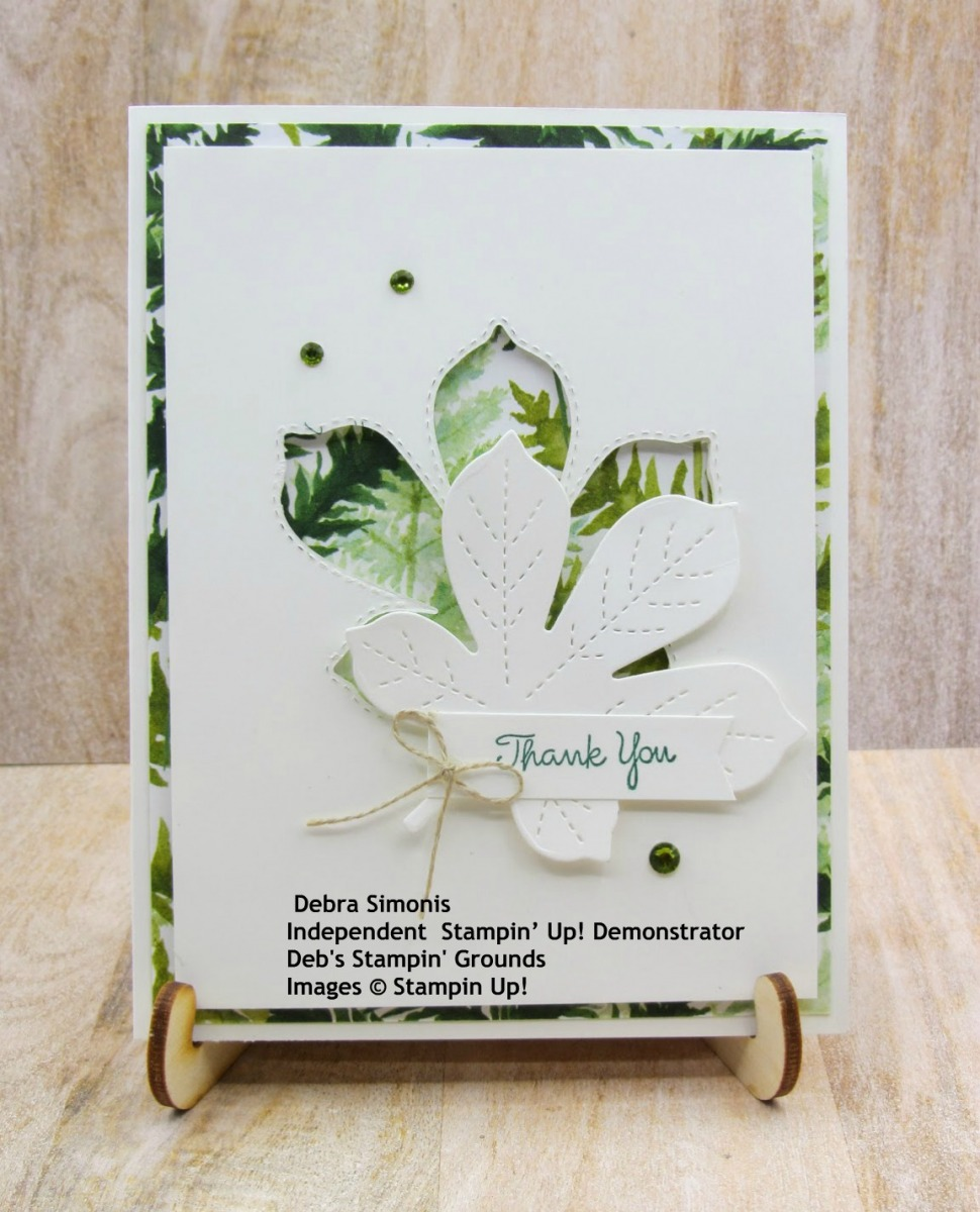 Stampin-Up-Love-of-Leaves-Forever-Greenery-pattern-paper-thank-you-card-Debra-Simonis-Stampinup