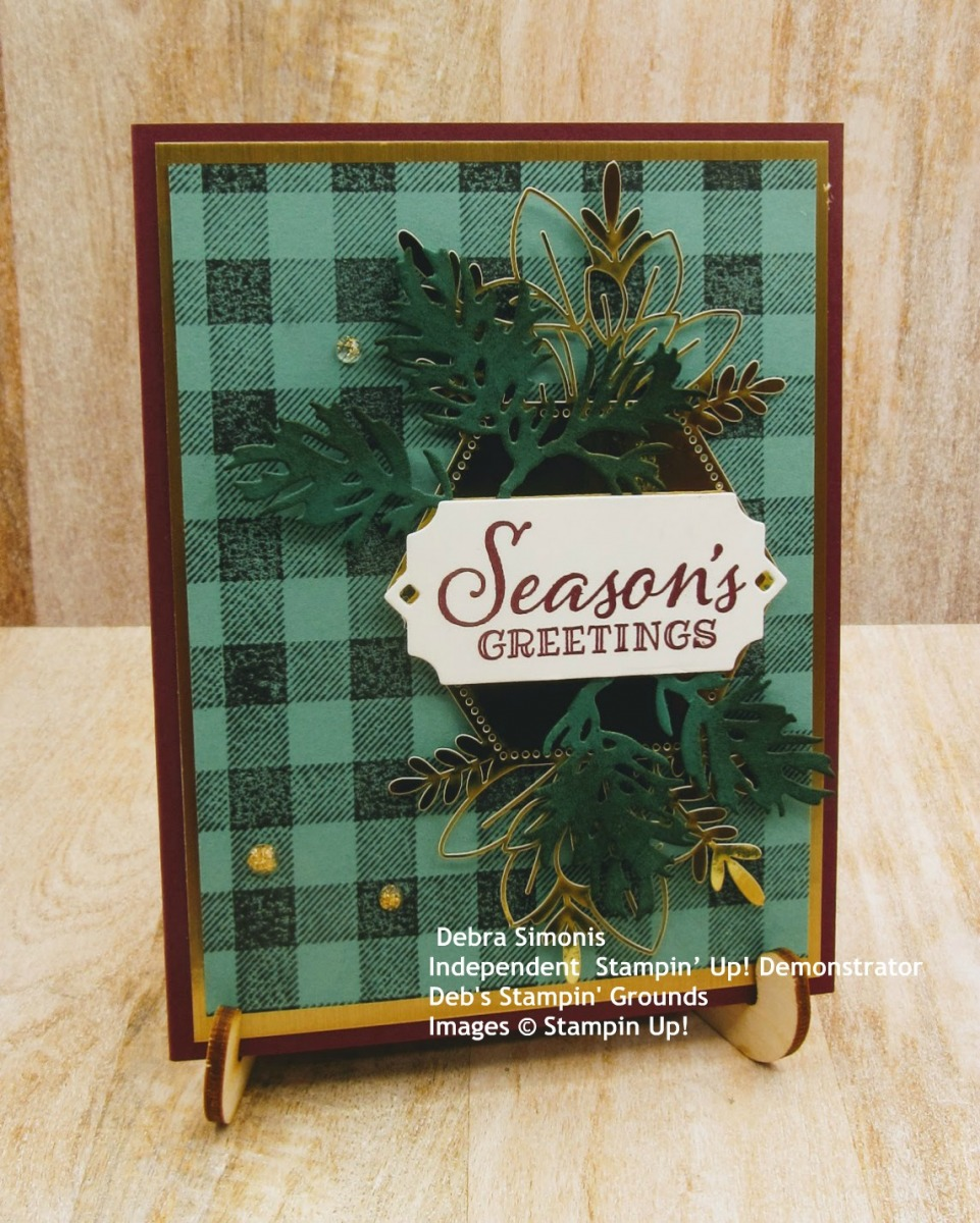 Stampin-Up-Peaceful-Boughs-Buffalo-Check-Beautiful-Boughs-Forever-Gold-Laser-Cut-Foil-Paper-seasons-greetings-christmas-card-Debra-Simonis-Stampinup.