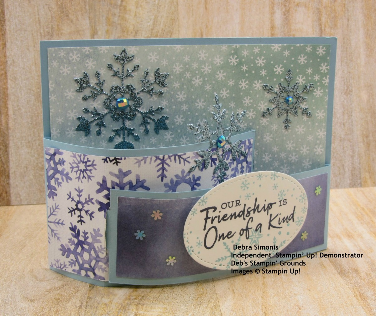 Stampin-Up-Snowflake-Wishes-So-Many-Snowflakes-Dies-friend-bendi-card-fun-fold-card-Debra-Simonis-Stampinup