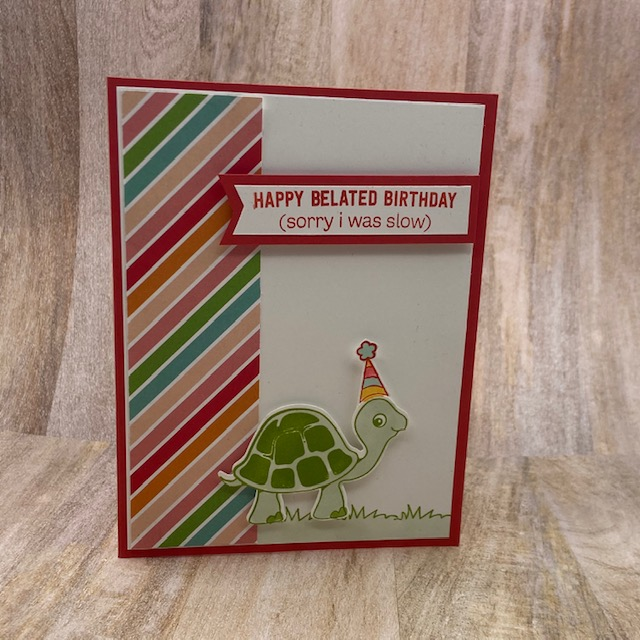 Stampin-Up-Turtle-Friends-stamp-set-Turtle-Punch-happy-birthday-kids-card belated birthday-Debra-Simonis-Stampinup