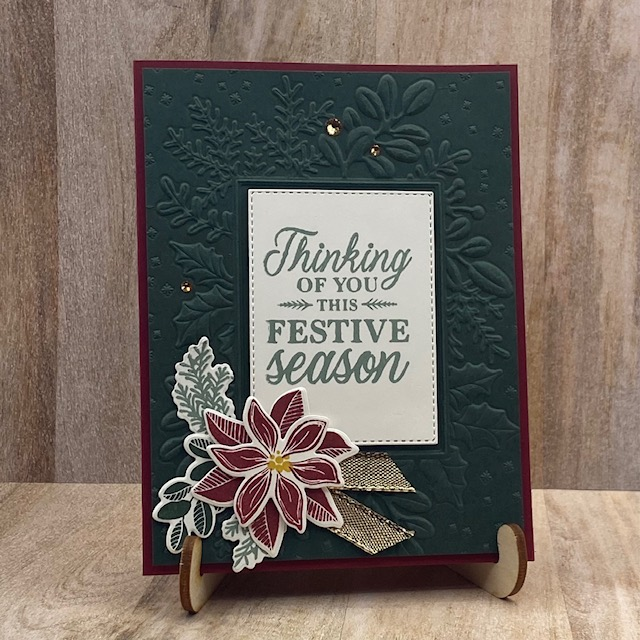 Stampin-Up-Merriest-Moments-Merriest-Frames-Dies-Merriest-Frames-Hybrid-Embossing-Folder-poinsettia-Christmas-card-Debra-Simonis-Stampinup